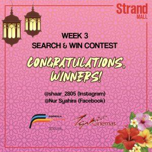 Congratulations Winner's Week 3